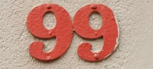 House Number ninety-nine sign