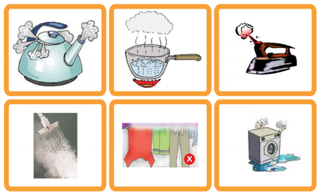 Causes of condensation and damp, e.g. ironing, cooking, showering etc.